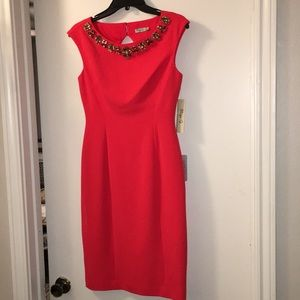 Eliza J Red Cocktail Dress with Jeweled Collar